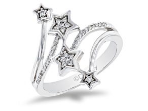 Enchanted Disney Tinker Bell Star Ring White Diamond Rhodium Over Silver 0.10ctw