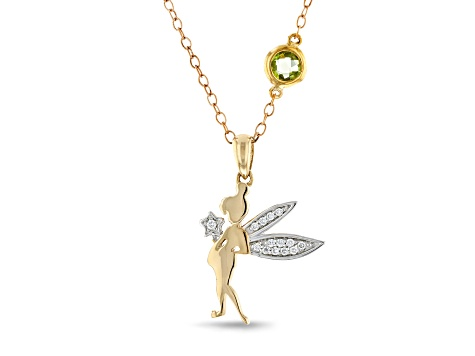 Enchanted Disney Tinker Bell Pendant With Chain Diamond & Tourmaline 10K Yellow & White Gold 0.40ctw