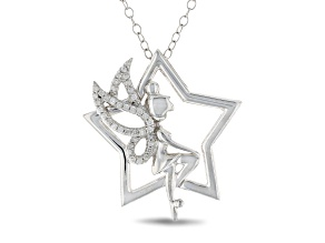 Enchanted Disney Tinker Bell Star Pendant With Chain White Diamond Rhodium Over Silver 0.10ctw
