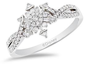 Enchanted Disney Elsa Snowflake Ring White Diamond 10K White Gold 0.33ctw
