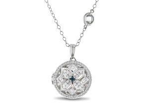 Enchanted Disney Elsa Locket Pendant With Chain Diamond And Aquamarine Rhodium Over Silver 0.60ctw