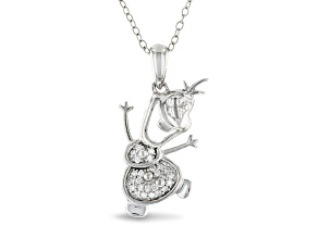 Enchanted Disney Olaf Pendant With Chain White Diamond Rhodium Over Silver 0.10ctw