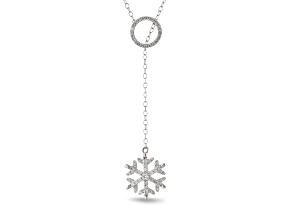 Enchanted Disney Elsa Snowflake Necklace With Chain White Diamond 14K White Gold 0.33ctw