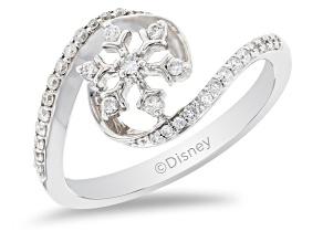 Enchanted Disney Elsa Snowflake Ring White Diamond 14K White Gold 0.25ctw