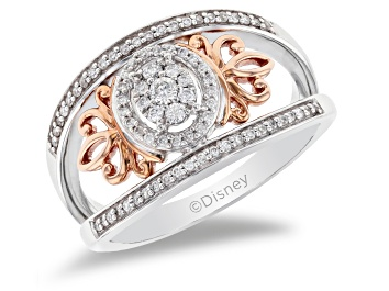 Picture of Enchanted Disney Majestic Princess Ring White Diamond Rhodium Over Silver And 10K Rose Gold 0.25ctw