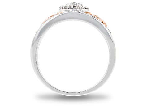 Enchanted Disney Majestic Princess Ring White Diamond Rhodium Over Silver And 10K Rose Gold 0.25ctw
