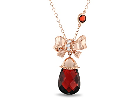 Enchanted Disney Snow White Bow Pendant With Chain Garnet And Diamond 14K Rose Gold 4.99ctw