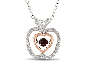 Enchanted Disney Snow White Pendant Garnet & Diamond Rhodium Over Silver & 10K Gold 0.37ctw