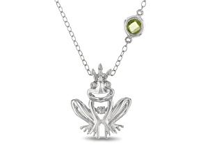 Enchanted Disney Tiana Frog Pendant With Chain Peridot And Diamond Rhodium Over Silver 0.41ctw
