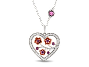 Enchanted Disney Mulan Plum Blossom Pendant Garnet & Diamond Rhodium Over Silver & 10K Gold 0.88ctw