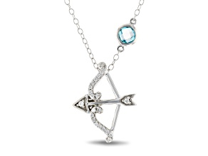 Enchanted Disney Merida Pendant With Chain Diamond And Topaz Rhodium Over Silver 0.57ctw