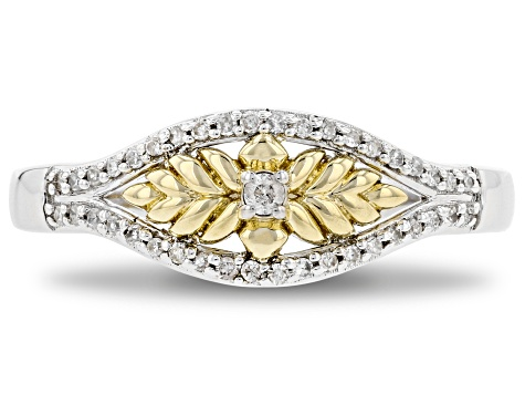 Enchanted Disney Anna Ring White Diamond 10K White And Yellow Gold 0.15ctw
