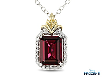 Picture of Enchanted Disney Anna Pendant With Chain Red Garnet And Diamond 10K White And Yellow Gold 1.60ctw