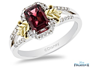 Enchanted Disney Anna Ring Rhodolite Garnet And White Diamond 10K White And Yellow Gold 1.20ctw