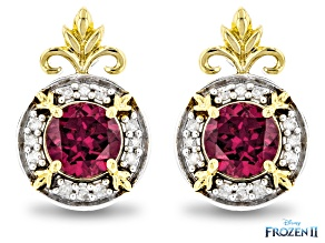 Enchanted Disney Anna Earrings Rhodolite Garnet & Diamond Rhodium & 14K Gold Over Silver 1.11ctw