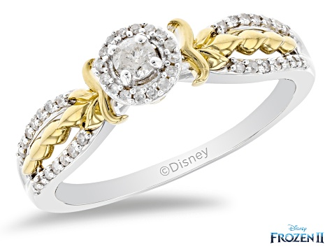 Enchanted Disney Anna Ring White Diamond Rhodium And 14K Yellow Gold Over Silver 0.20ctw