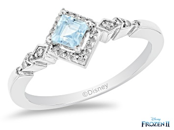 Picture of Enchanted Disney Elsa Ring Swiss Blue Topaz And White Diamond Rhodium Over Silver 0.45ctw