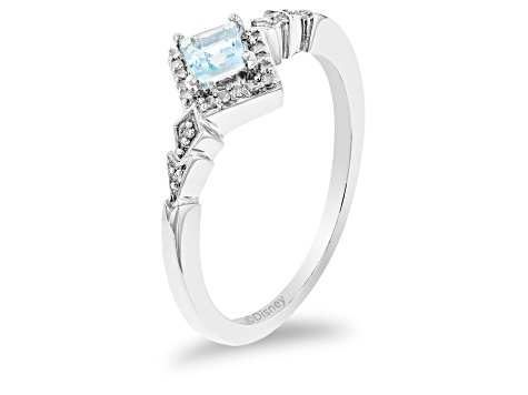 Enchanted Disney Elsa Ring Swiss Blue Topaz And White Diamond Rhodium Over Silver 0.45ctw
