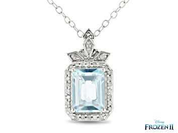 Picture of Enchanted Disney Elsa Pendant With Chain Sky Blue Topaz And White Diamond 10K White Gold 1.95ctw