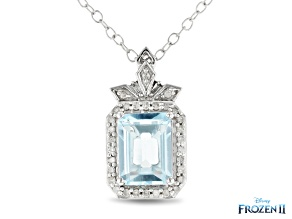 Enchanted Disney Elsa Pendant With Chain Sky Blue Topaz And White Diamond 10K White Gold 1.95ctw