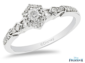 Picture of Enchanted Disney Elsa Ring Round White Diamond Rhodium Over Sterling Silver 0.20ctw
