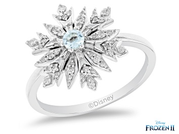 Picture of Enchanted Disney Elsa Snowflake Ring Sky Blue Topaz And White Diamond Rhodium Over Silver 0.33ctw