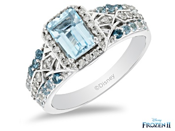 Picture of Enchanted Disney Elsa Ring Blue Topaz And White Diamond 10K White Gold 1.98ctw