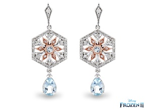 Enchanted Disney Elsa Snowflake Earrings Topaz & Diamond Rhodium & 14K Rose Gold Over Silver 2.21ctw
