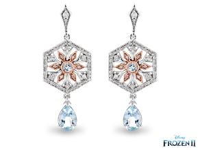 Enchanted Disney Elsa Snowflake Earrings Topaz & Diamond Rhodium & 14K Rose Gold Over Silver 2.21ctw