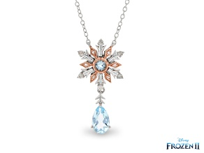 Enchanted Disney Elsa Snowflake Pendant Topaz & Diamond Rhodium & 14K Rose Gold Over Silver 1.34ctw