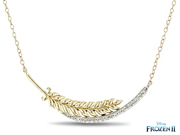 Picture of Enchanted Disney Anna Necklace White Diamond 10K Yellow And White Gold 0.15ctw