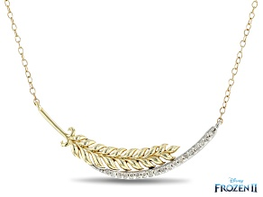 Enchanted Disney Anna Necklace White Diamond 10K Yellow And White Gold 0.15ctw