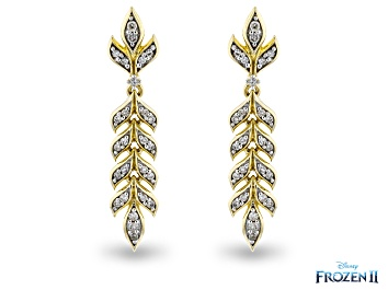Picture of Enchanted Disney Anna Earrings Round White Diamond 10K Yellow Gold 0.20ctw