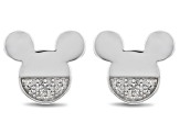 Mickey & Friends Mickey Mouse Stud Earrings White Diamond Accent Rhodium Over Sterling Silver