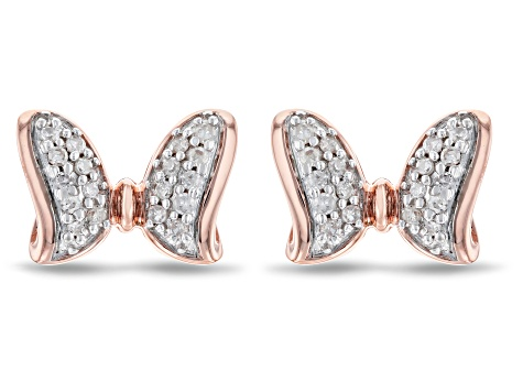 Mickey & Friends Minnie Mouse Bow Stud Earrings White Diamond 14k Rose Gold Over Silver 0.10ctw