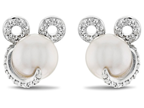 Mickey & Friends Mickey Mouse Earrings Cultured Freshwater Pearl/Diamond/Rhodium Over Silver .20ctw