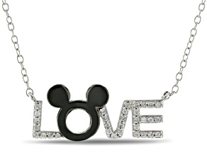 "Mickey & Friends Mickey Mouse ""LOVE"" Necklace Diamond White & Black Rhodium Over Silver 0.15ctw"
