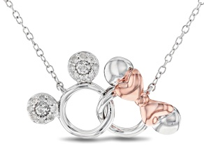 Mickey & Friends Mickey & Minnie Mouse Necklace White Diamond Rhodium & 14k Gold Over Silver .10ctw
