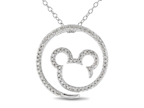 Mickey & Friends Mickey Mouse Pendant With Chain White Diamond Rhodium Over Silver 0.33ctw