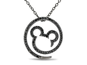 Mickey & Friends Mickey Mouse Pendant With Chain Black Diamond Black Rhodium Over Silver 0.33ctw