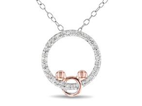 Mickey & Friends Mickey Mouse Pendant White Diamond Rhodium And 14k Rose Gold Over Silver 0.15ctw