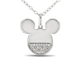 Mickey & Friends Mickey Mouse Pendant With Chain White Diamond Accent Rhodium Over Silver