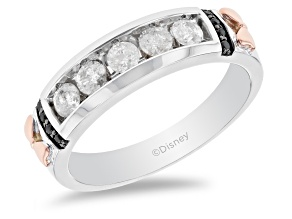Mickey & Friends Minnie Mouse Band Ring White And Black Diamond 10k White And Rose Gold 0.50ctw