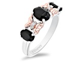 Mickey & Friends Minnie Mouse Band Ring Onyx & Diamond Rhodium & 14k Rose Gold Over Silver 1.18ctw