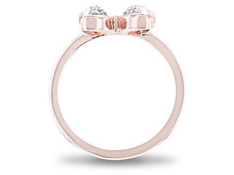 Mickey & Friends Minnie Mouse Bow Ring White Diamond 14k Rose Gold Over Silver 0.10ctw