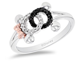 Mickey & Friends Mickey And Minnie Mouse Ring Diamond Rhodium & 14k Rose Gold Over Silver 0.15ctw