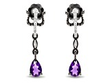 Enchanted Disney Villains Ursula Earrings Amethyst & White Diamond Black Rhodium Over Silver 0.45ctw