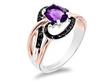 Enchanted Disney Villains Ursula Ring Amethyst & Diamond Rhodium & 14k Rose Gold Over Silver 1.35ctw