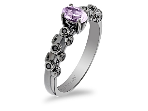 Enchanted Disney Villains Ursula Ring Amethyst And Black Diamond Black Rhodium Over Silver 0.50ctw