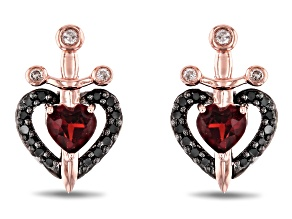 Enchanted Disney Villains Evil Queen Earrings Garnet & Diamond Rhodium & 14k Gold Over Silver .45ctw